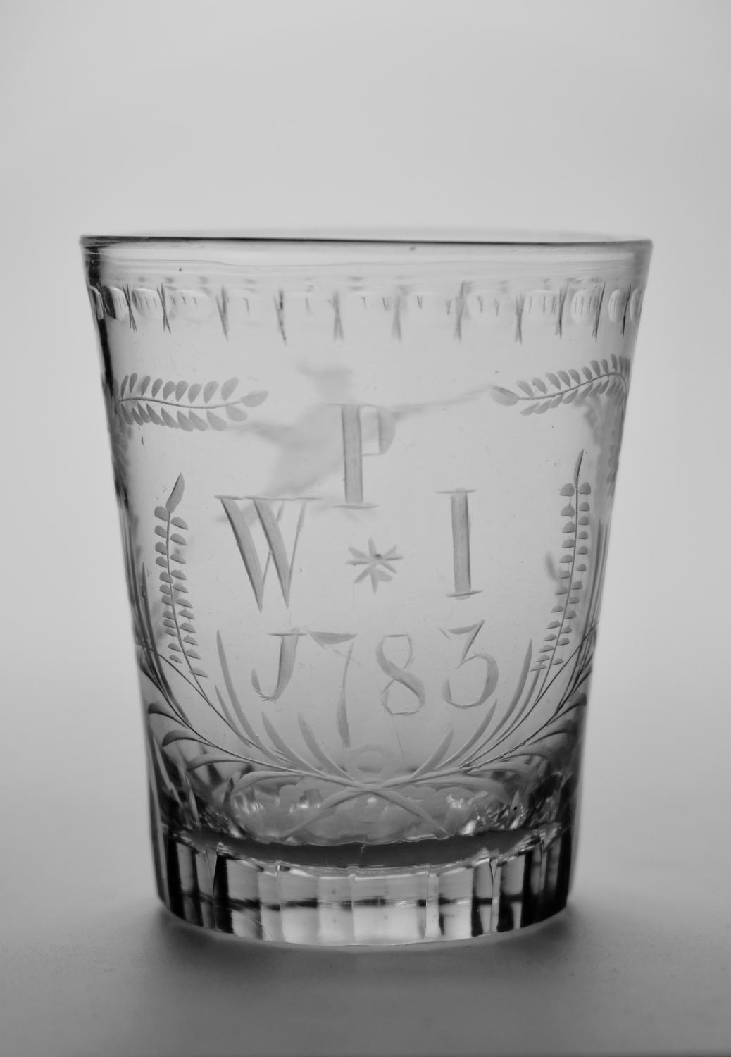 Engraved tumbler dated 1785
