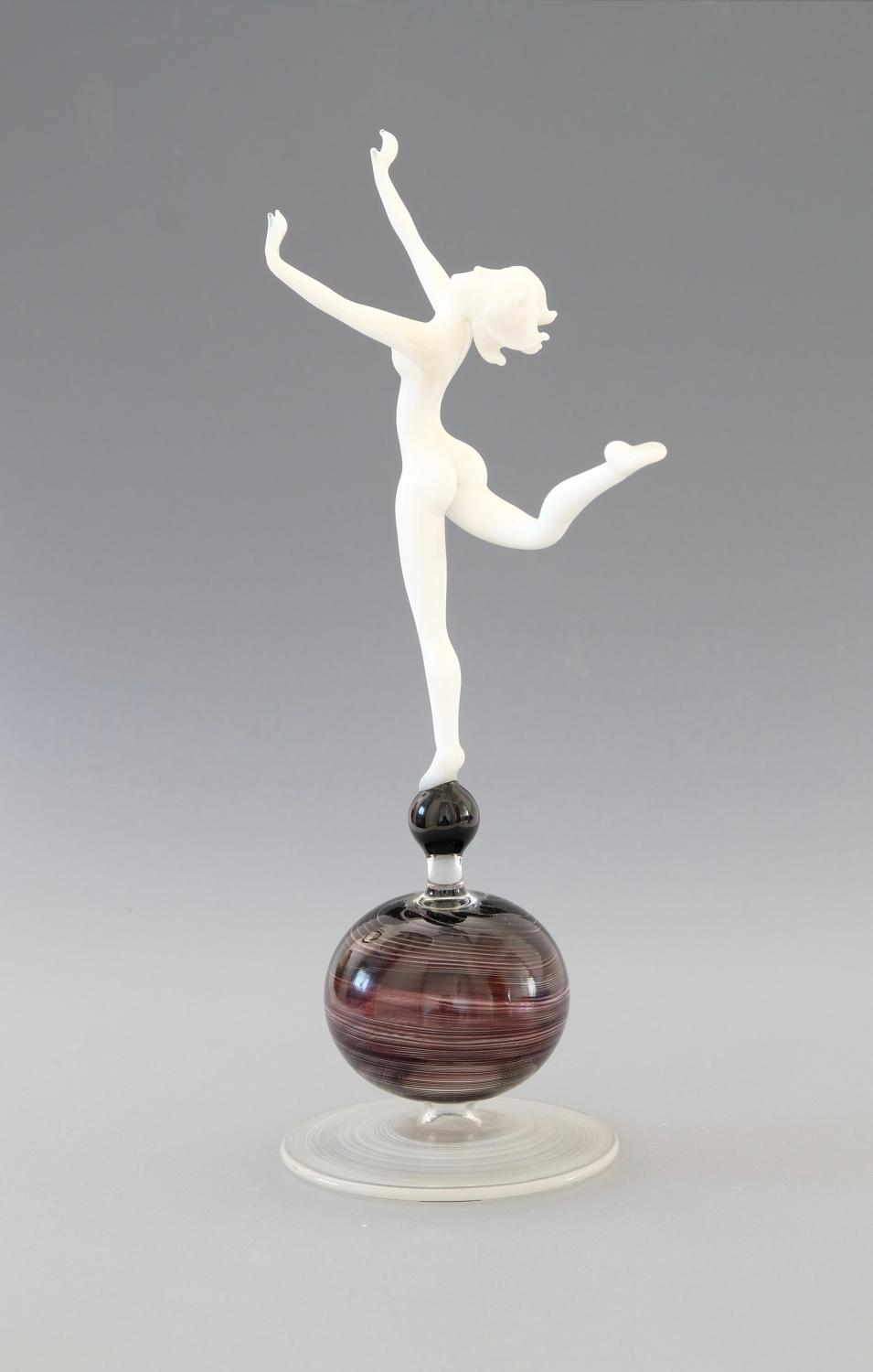 Glass Female Dancer by Istvan Komaromy.