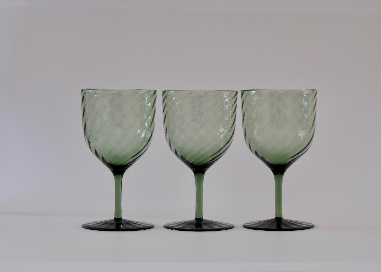 Set of six green wine glasses C1870