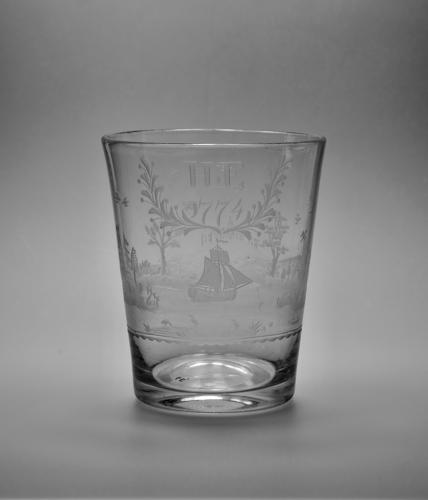 Engraved tumbler dated 1774.