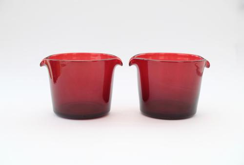 Pair of ruby wine glass coolers C1835/40