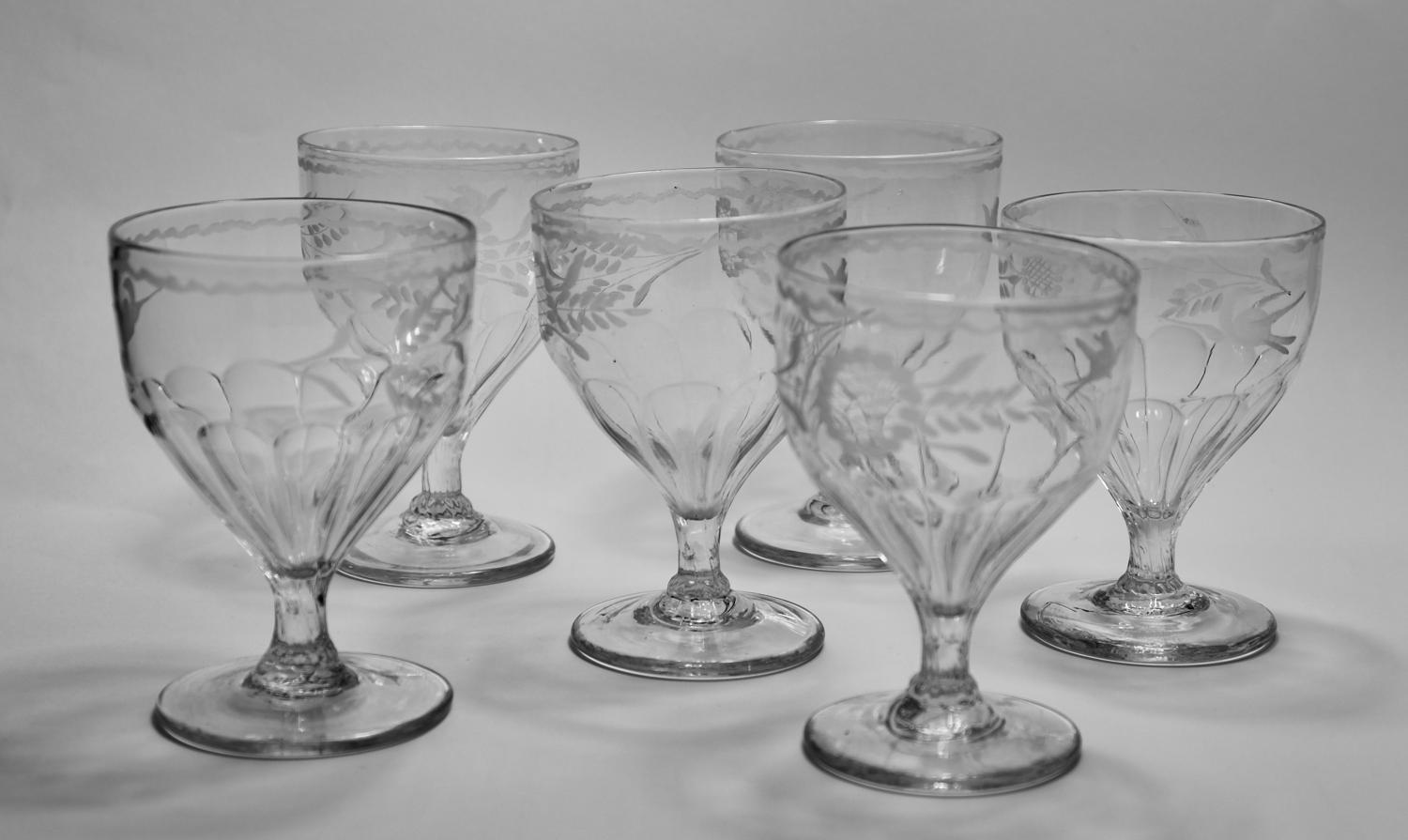 Set of six engraved panel moulded rummers C1800