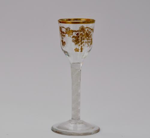 Wine glass with gilt decoration James Giles C1765.