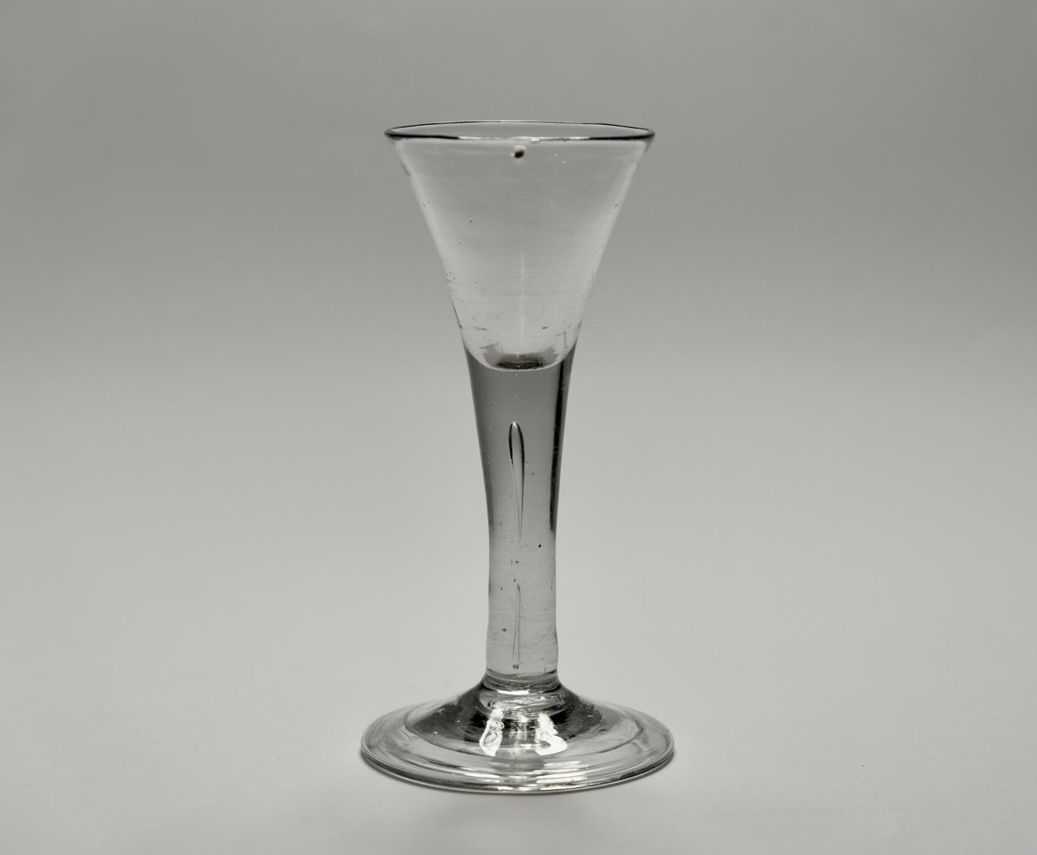 Plain stem wine glass English C1750