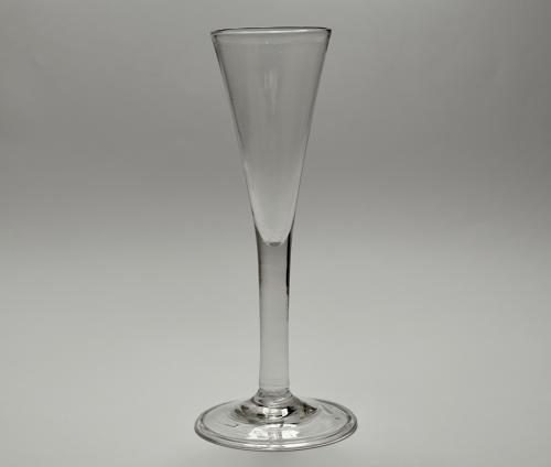 Plain stem wine flute / ale glass. English C1760.
