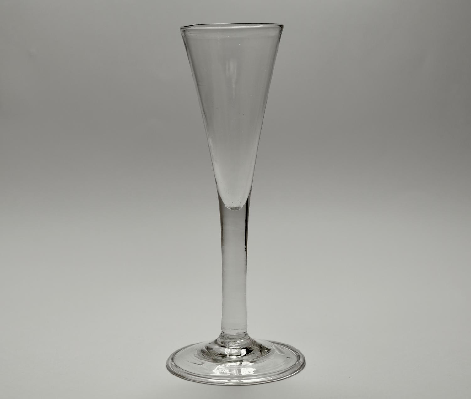 Plain stem wine flute / ale glass. English C1760.
