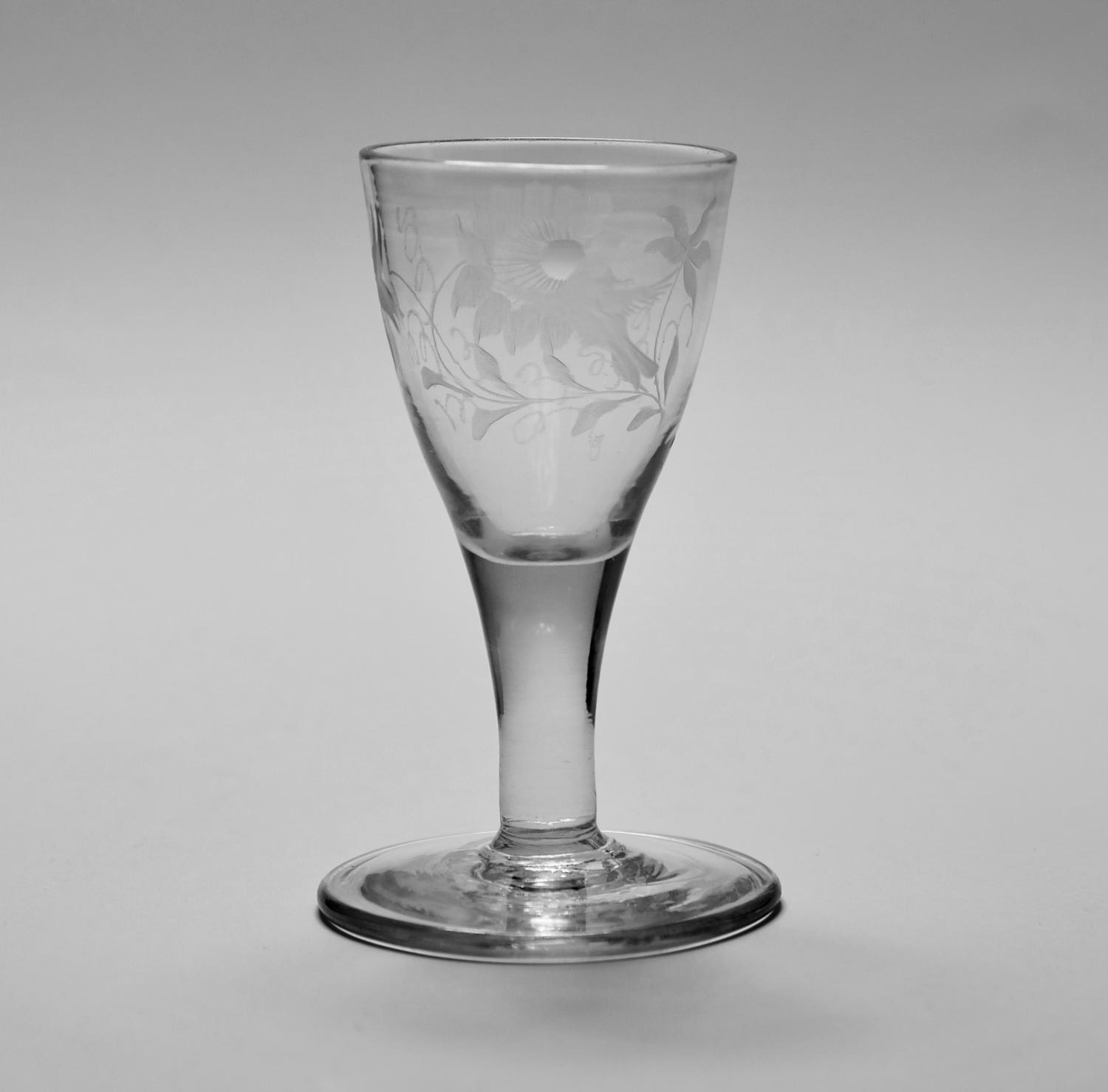Engraved dram glass C1780.