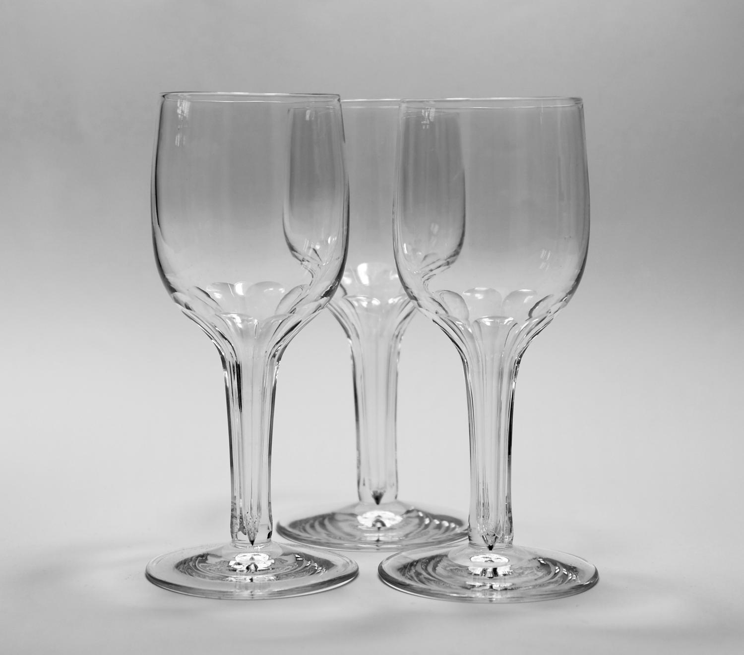Three from a set of 6 hollow stem wines C1860