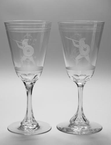 Pair etched goblets C1870