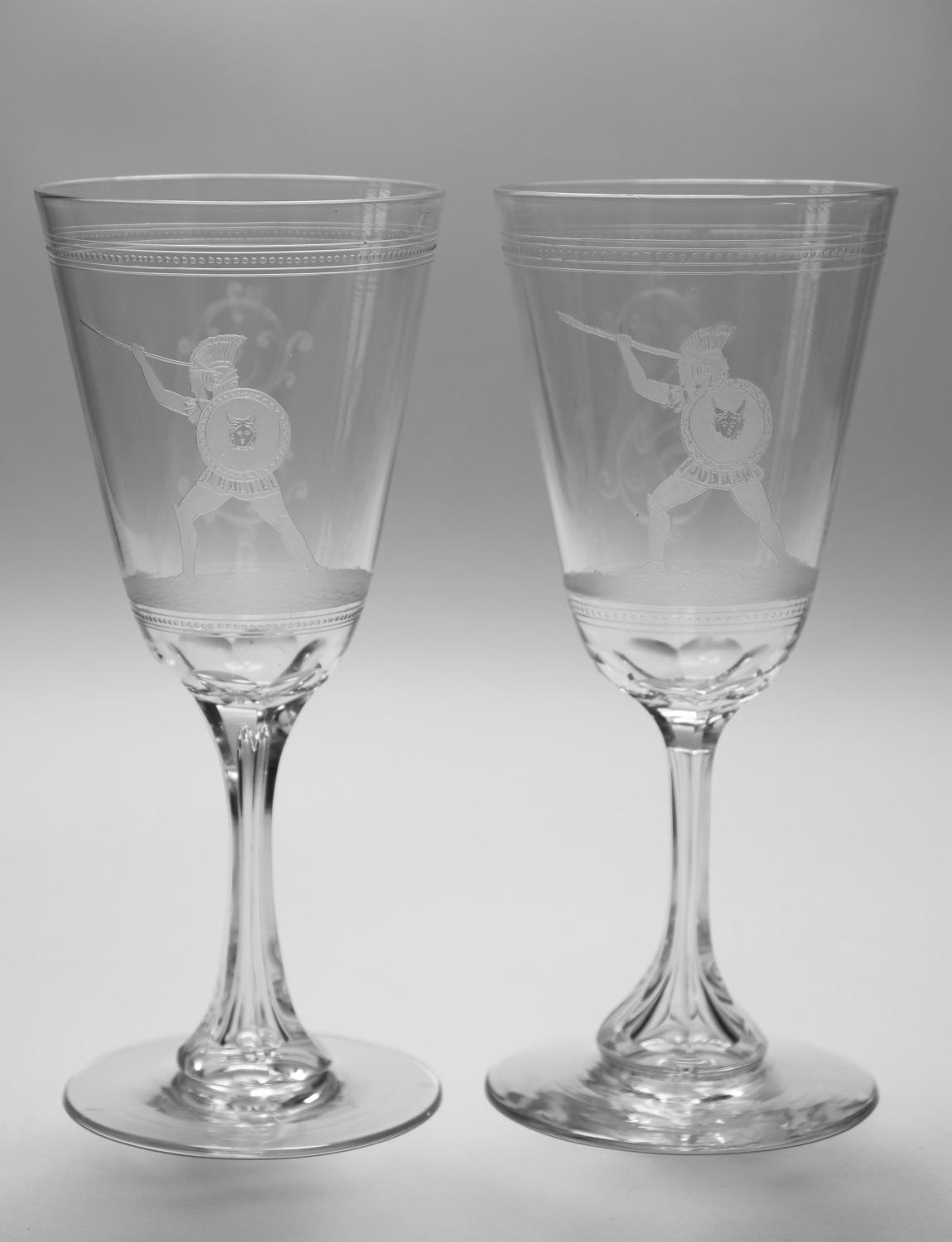 Pair etched goblets C1870