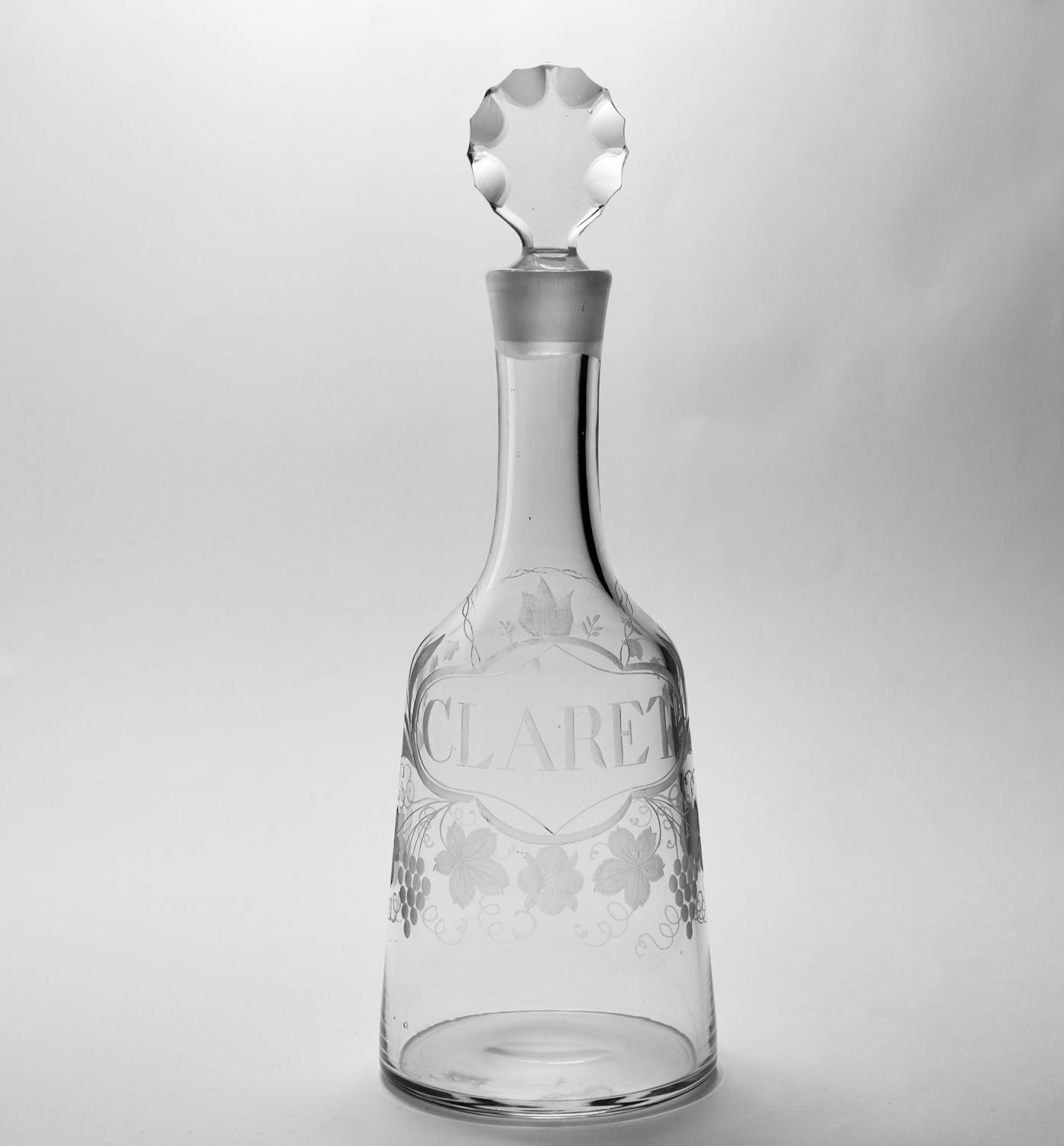 Mallet decanter labelled Claret C1770