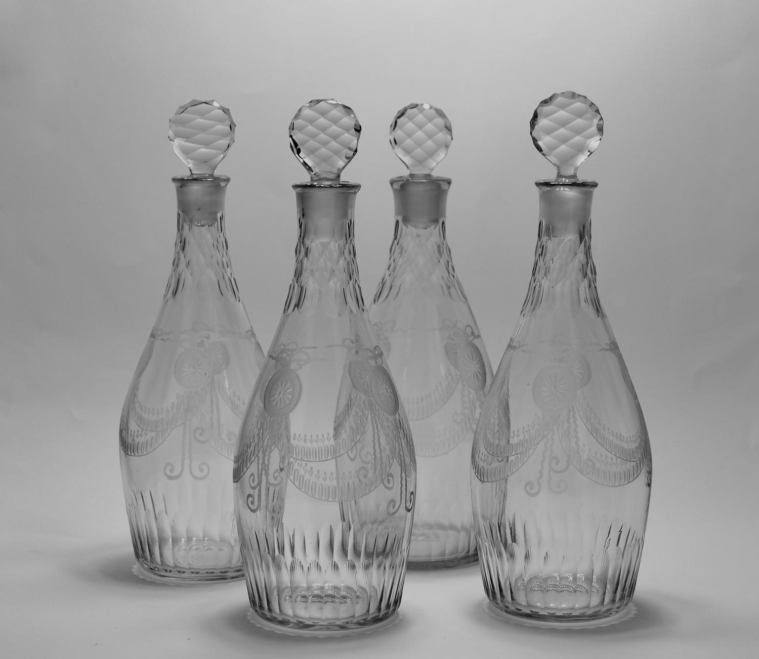 Set of four club decanter English C1770