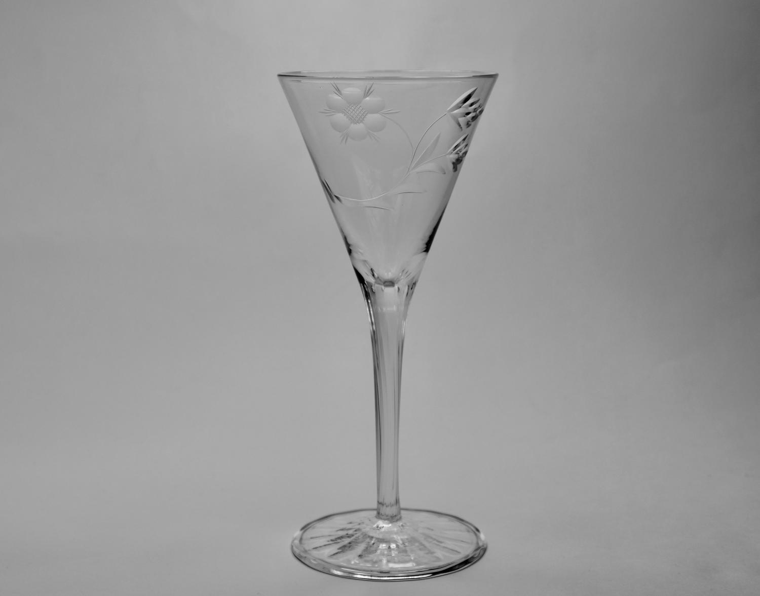Wine glass designed by Harry Powell C1900