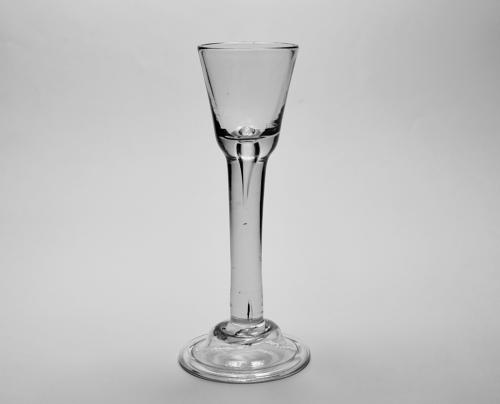 Plain stem cordial glass Irish C1740/50