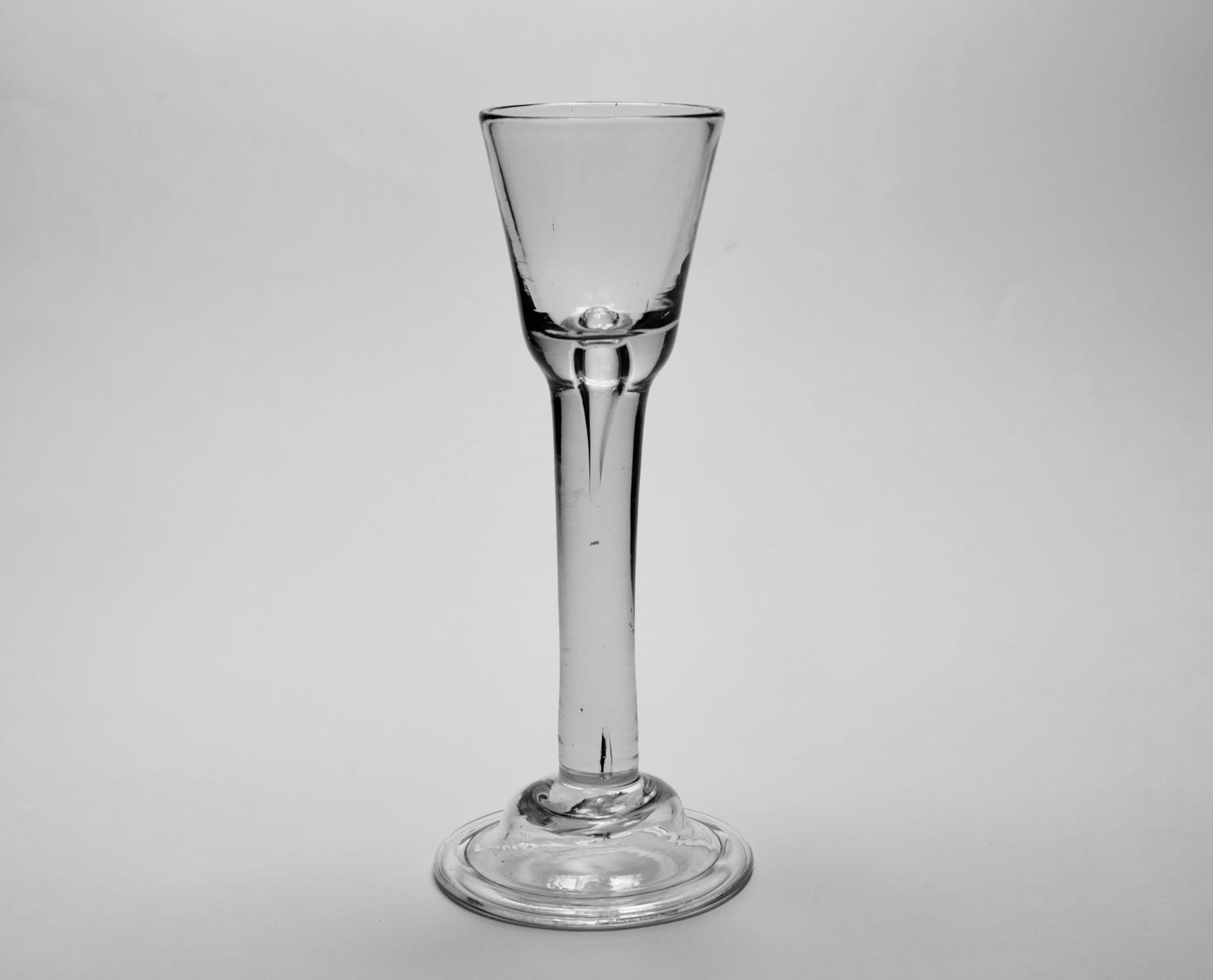 Plain stem cordial glass Irish C1740/50