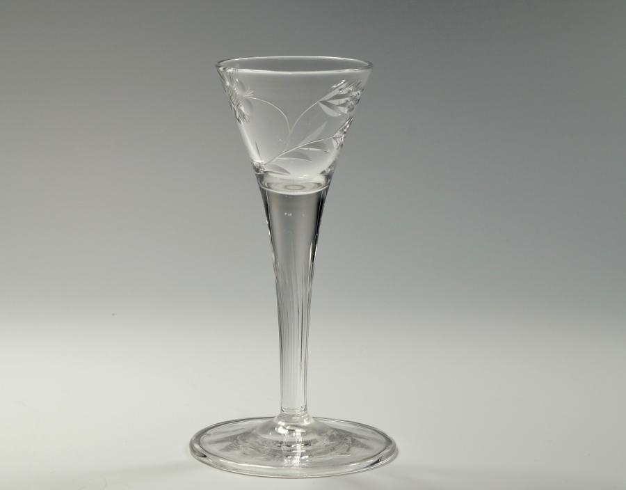 Liqueur glass stylised rose pattern Whitefriars C1910