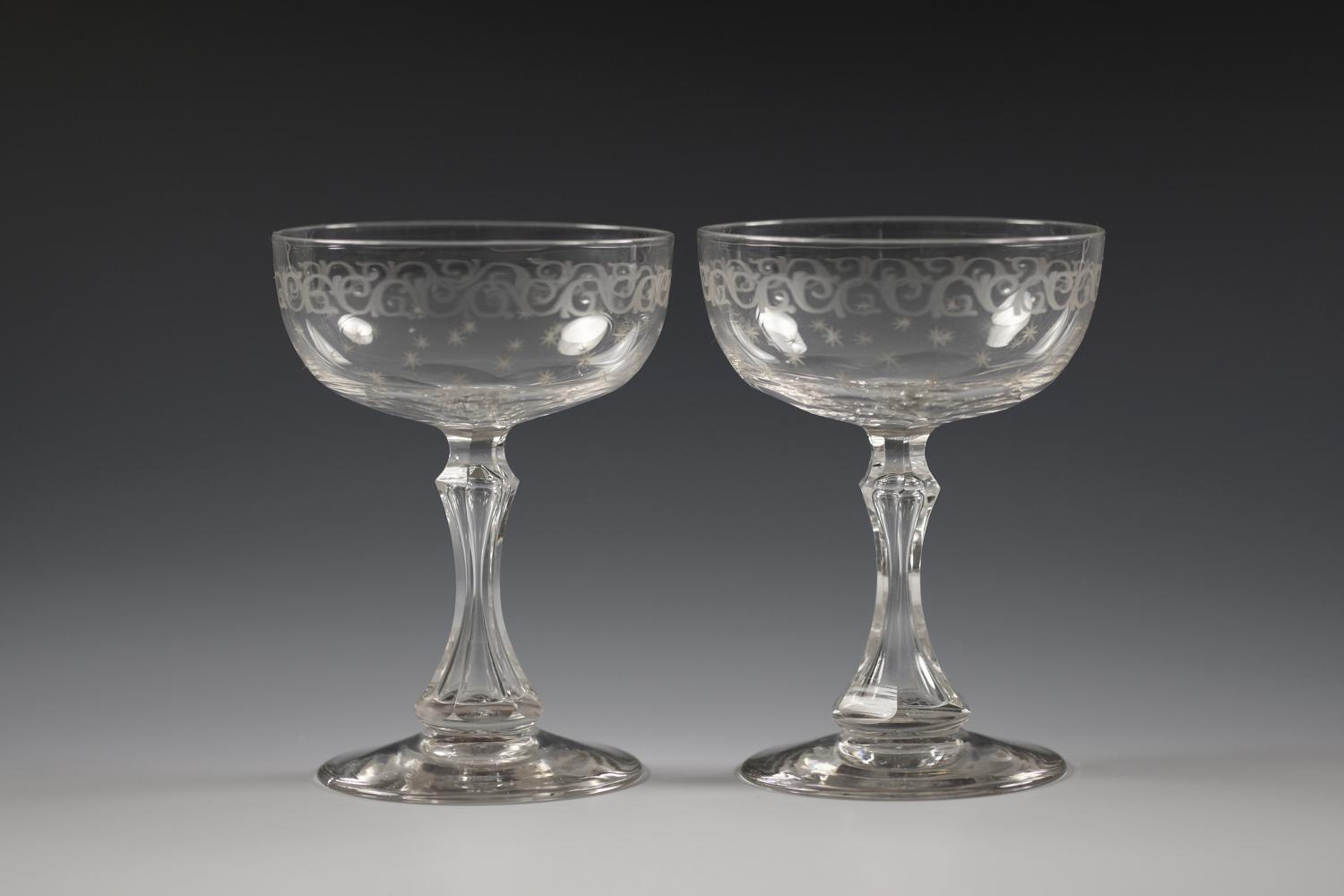 Pair of champagne glasses C1880