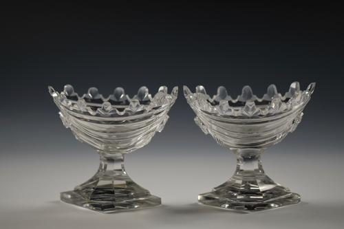 Pair of cut glass salts English C1790