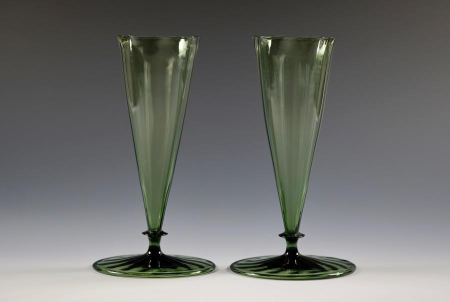 Pair of dark green vases designed by Harry Powell C1870