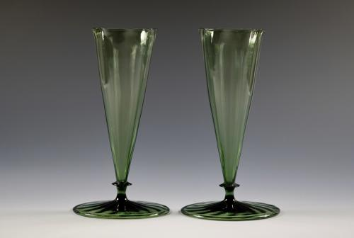 Pair of dark green vases designed by Harry Powell C1870