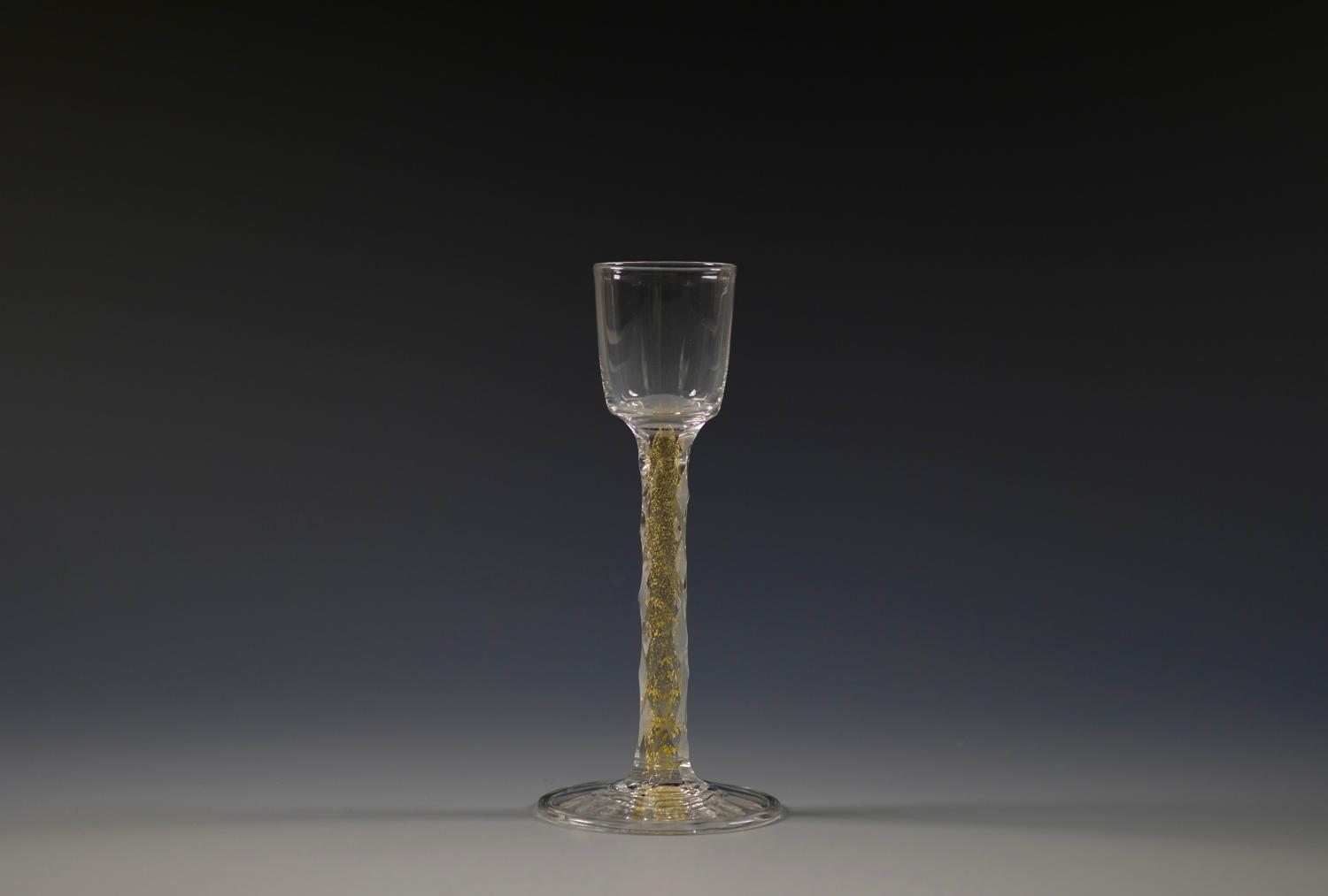 Rare liqueur glass with gold foil inclusions Whitefriars C1900
