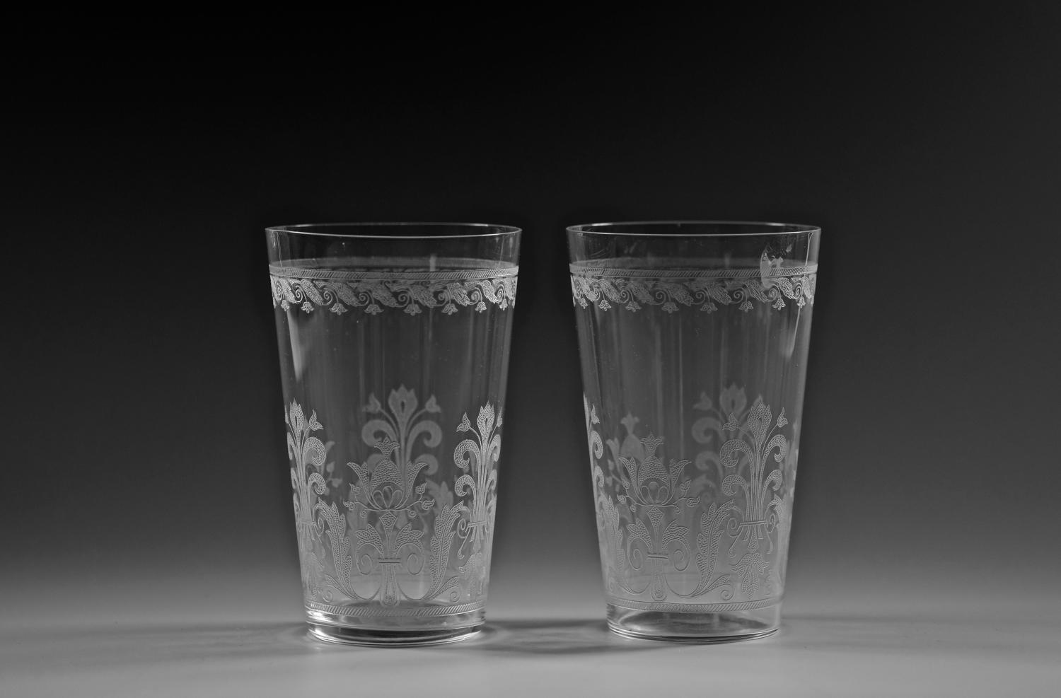 Pair of large etched tumblers C1880