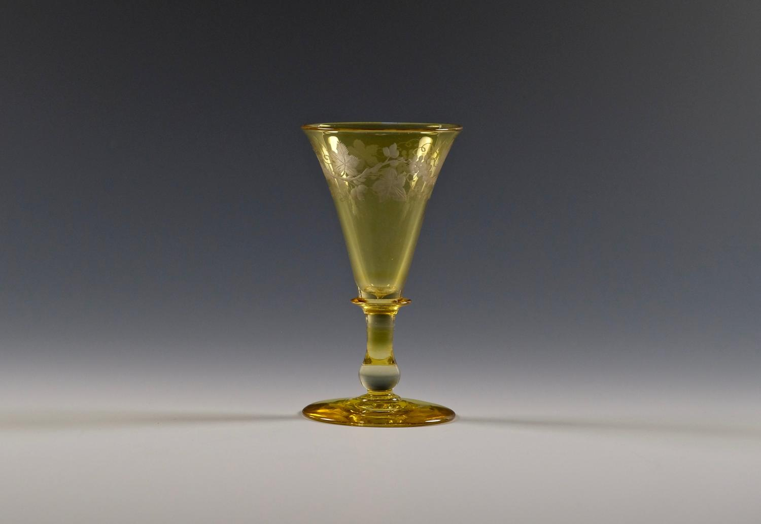 Engraved amber wine glass C1850