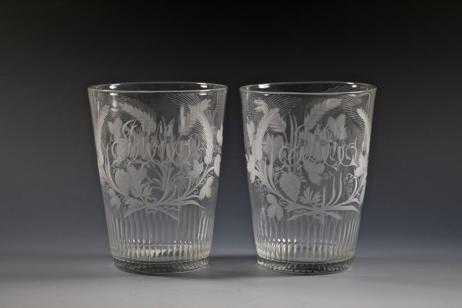 Fine pair of engraved tumblers English C1790