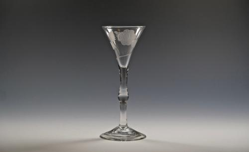 Light baluster wine glass English C1745