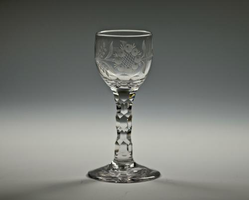 Facet stem wine glass English C1780