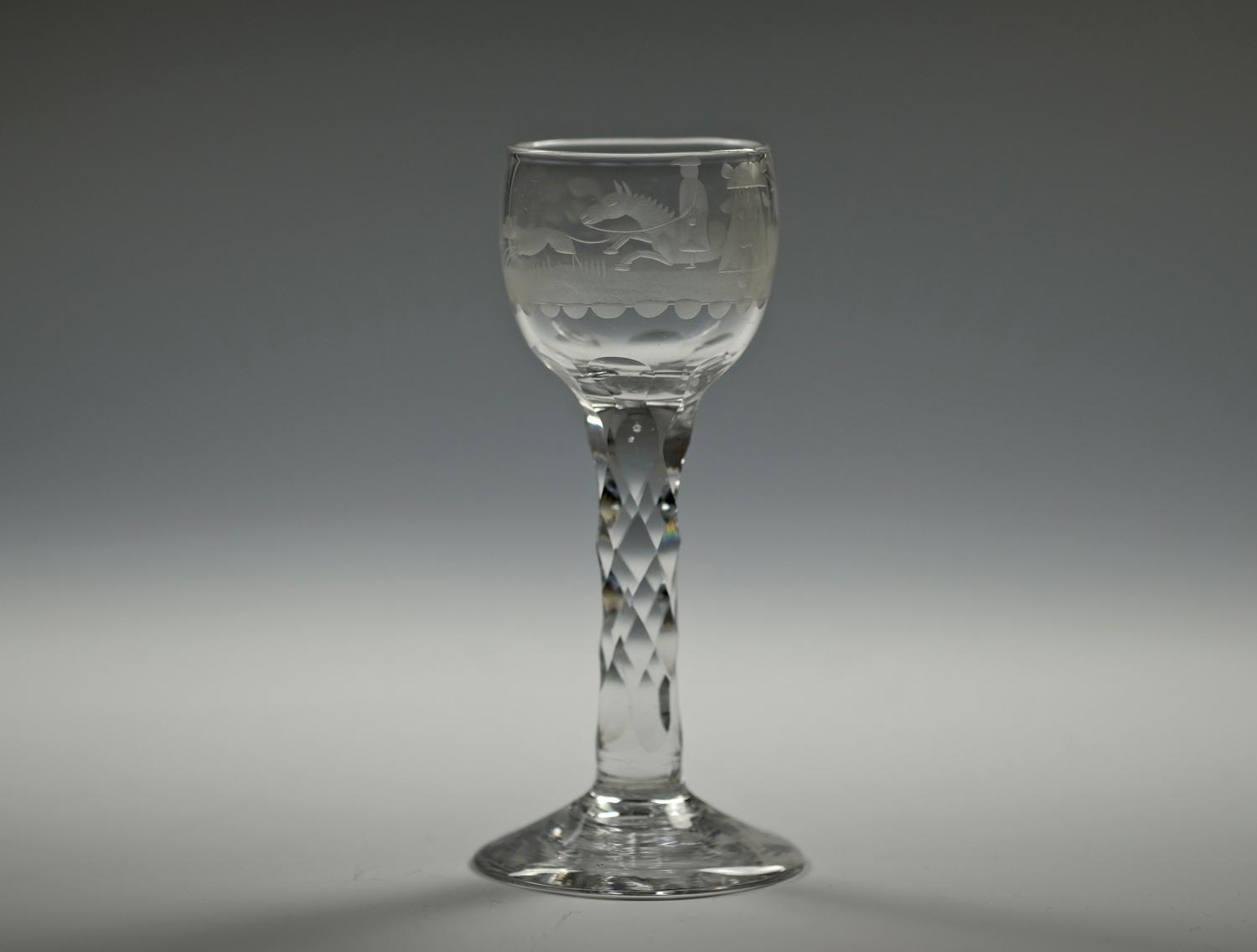 Engraved facet stem wine glass English C1770/80