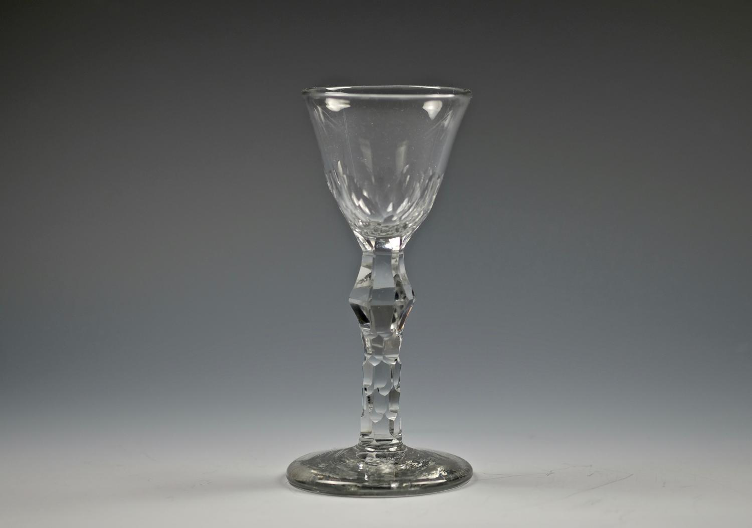 Rare facet stem wine glass C1770