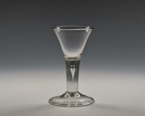 Short plain stem wine glass English C1750