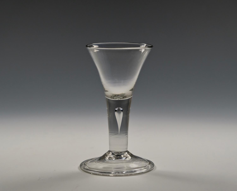 Short plain stem wine glass English C1750
