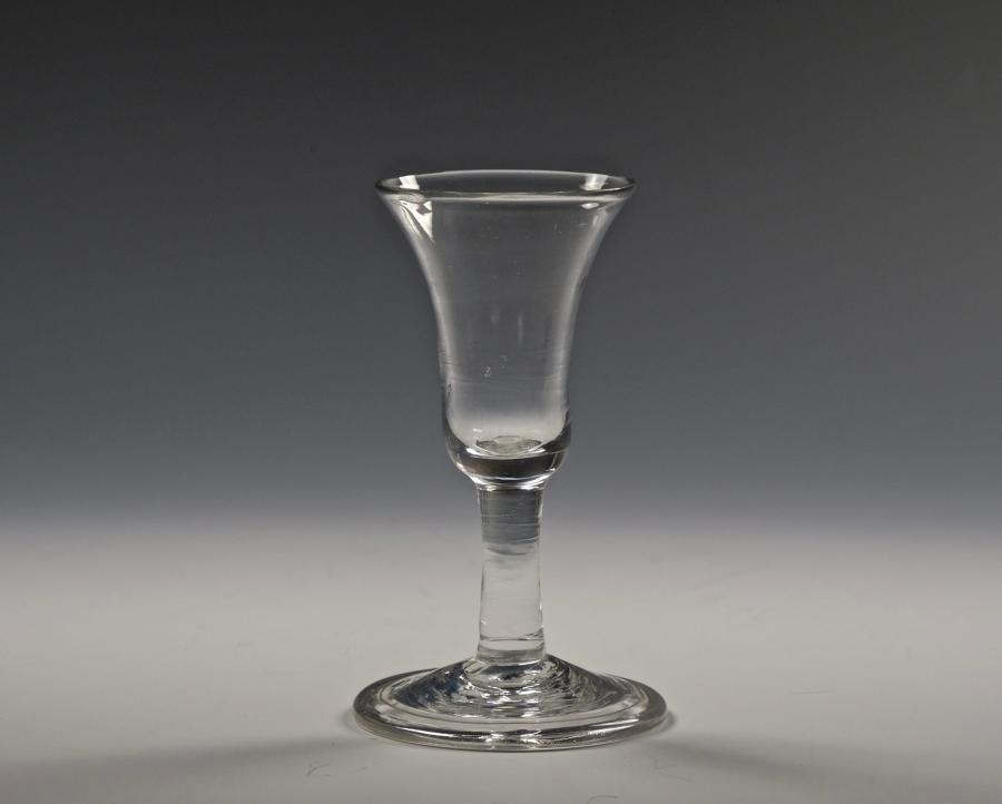 Short plain stem wine glass English C1760