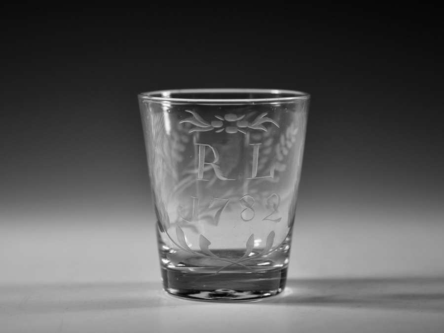 Engraved tumbler dated 1782