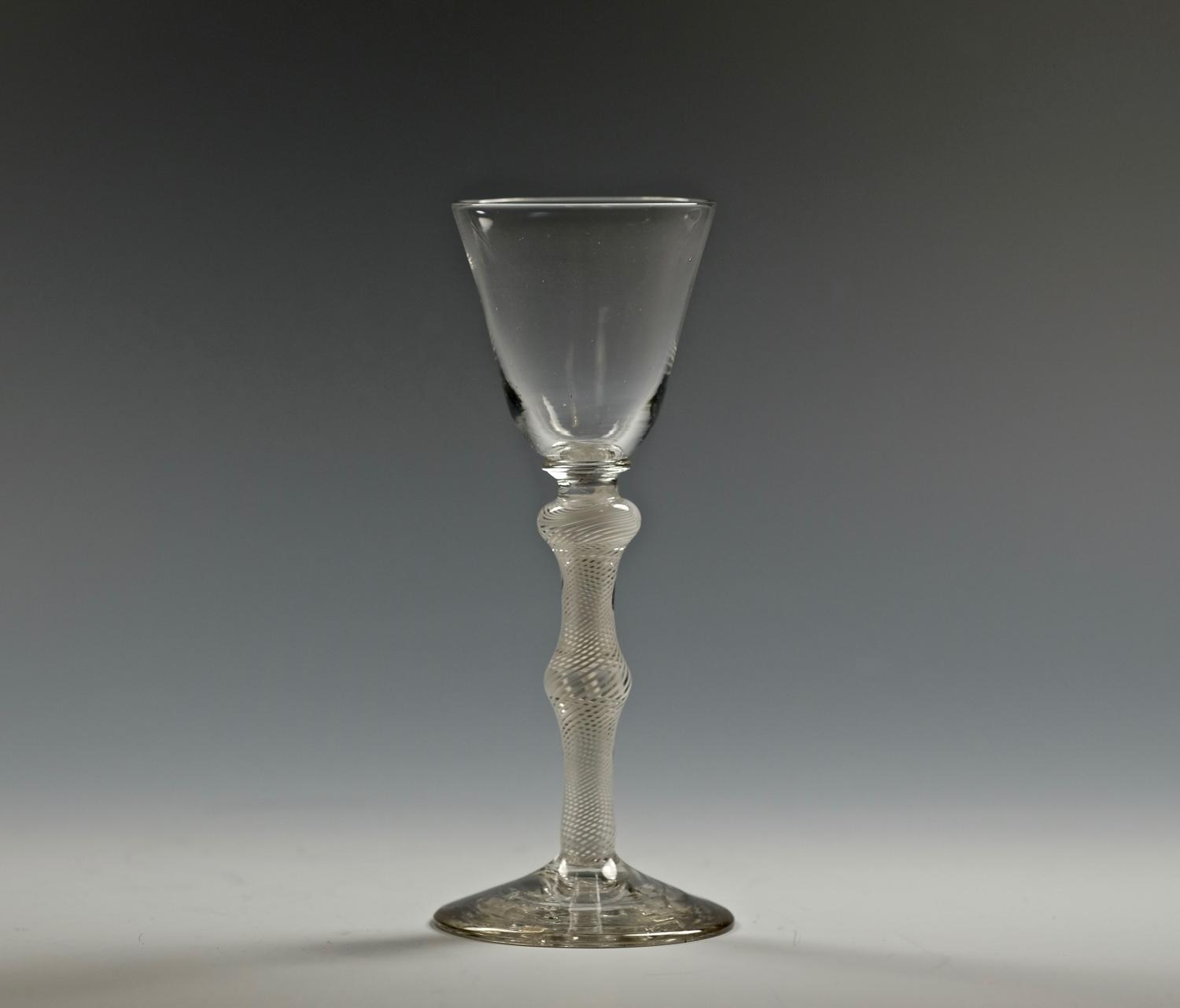 Multiple-spiral opaque twist wine glass English C1765