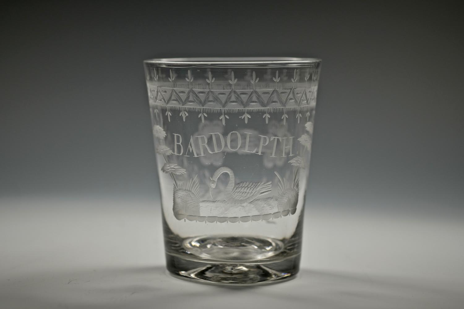 Fine English tumbler Engraved Bardolpth C1800