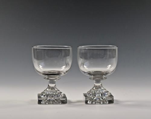 Pair of small lemon squeezer base rummers C1800