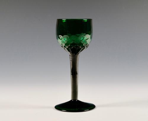 Emerald green wine glass English late 18th century