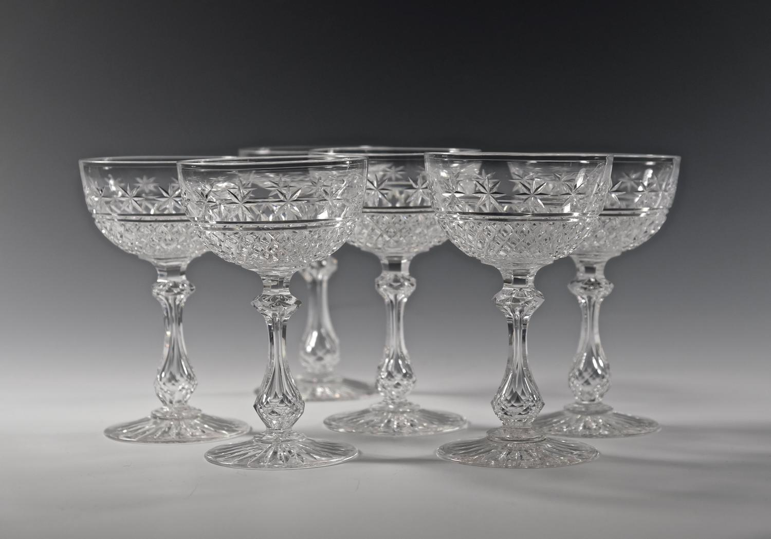 Set of six champagne glasses C1890