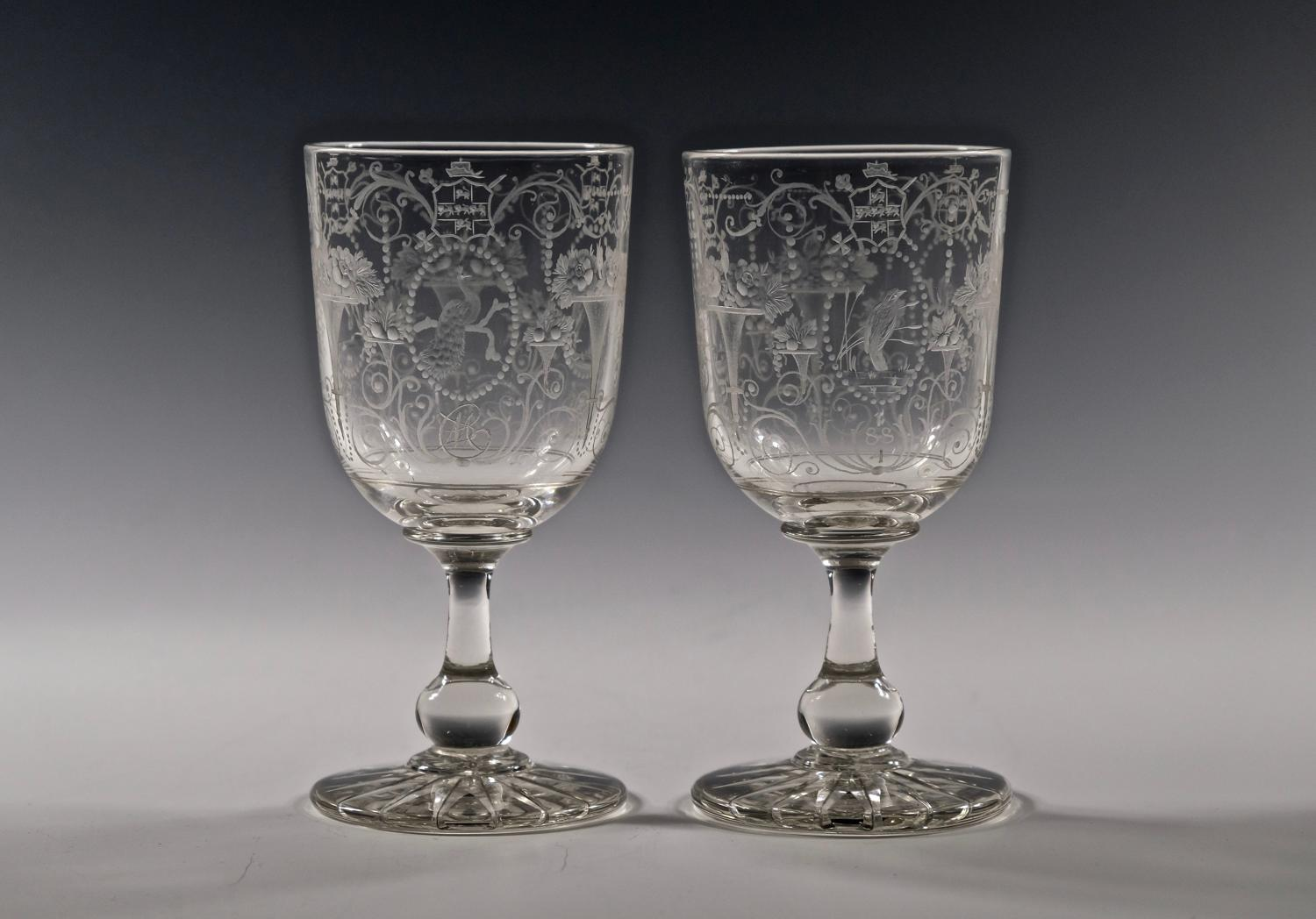 Fine pair of engraved goblets English 1884.