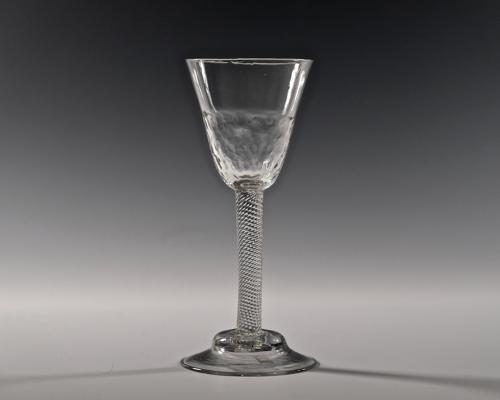 Incised twist wine glass English C1755