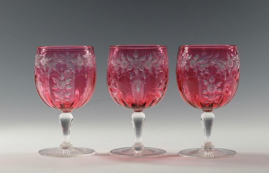 Intaglio cut wine glass by Stevens & Williams C1900