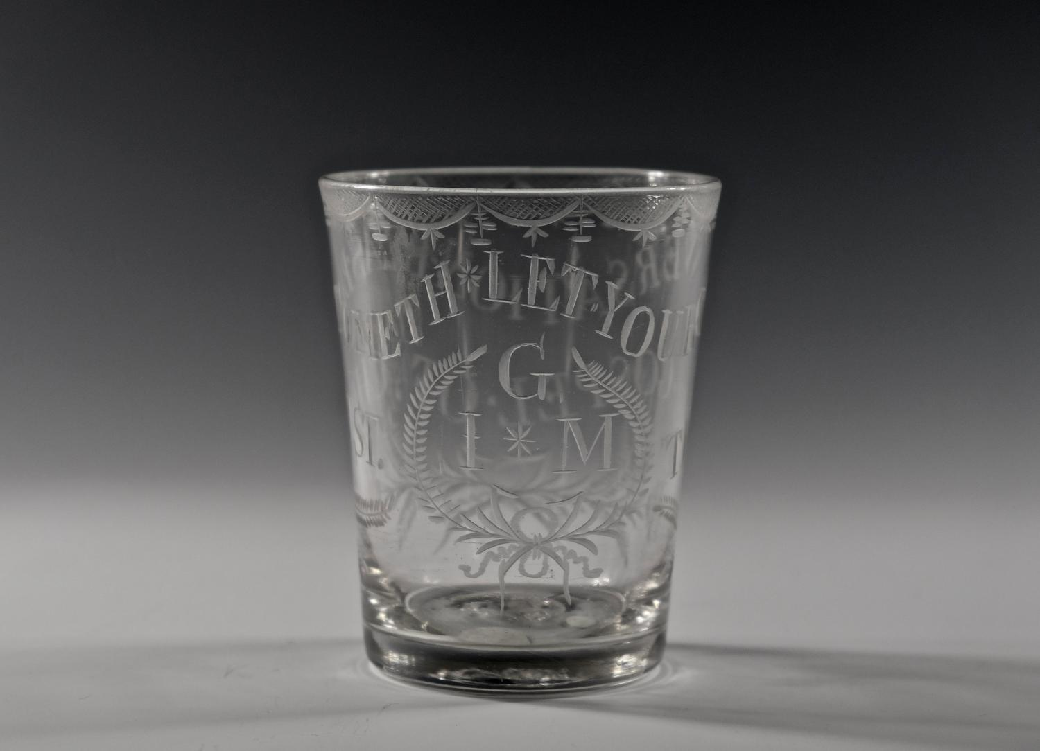 Engraved religious tumbler English C1780