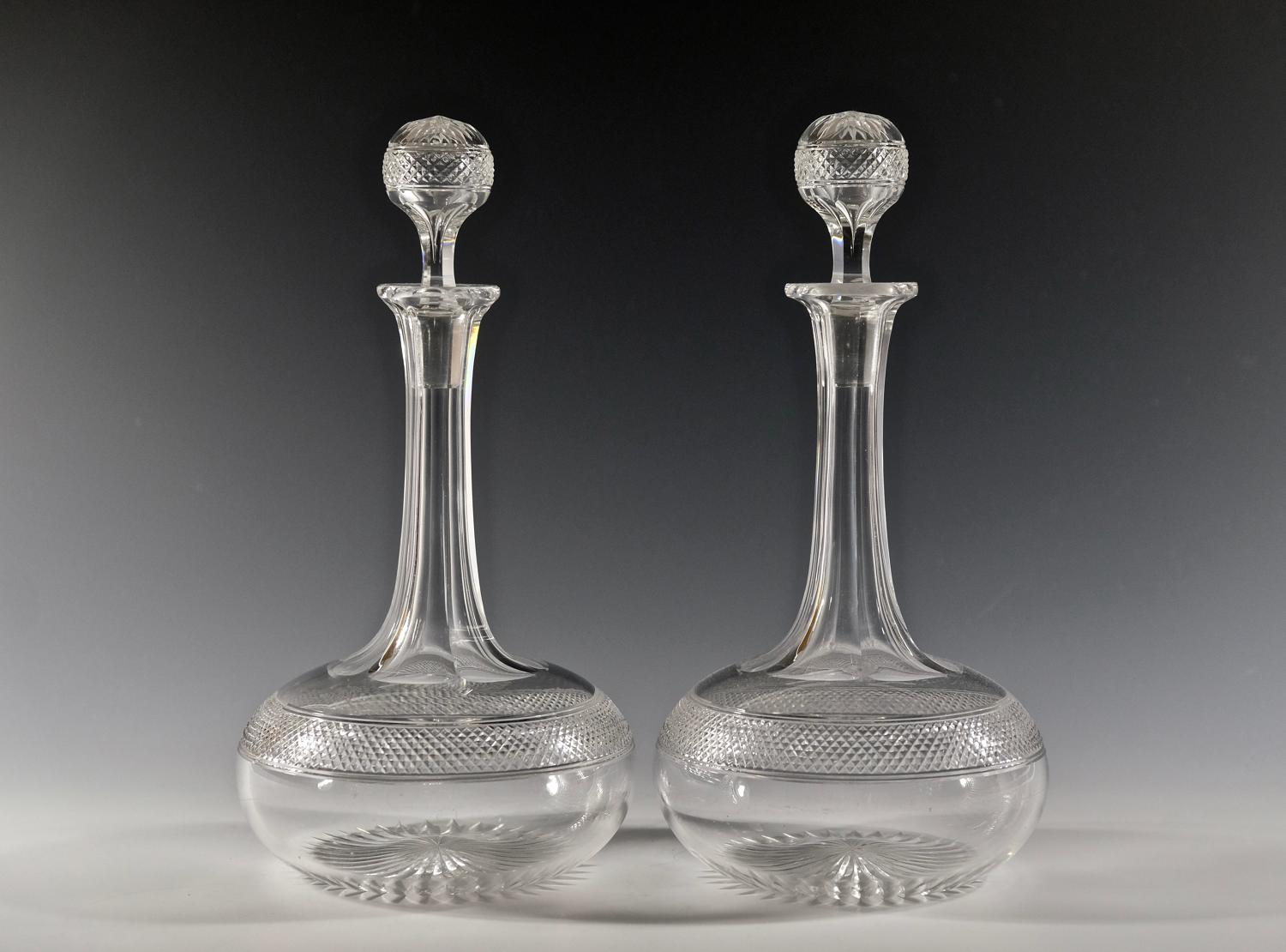 Pair of shaft & globe decanters English C1880