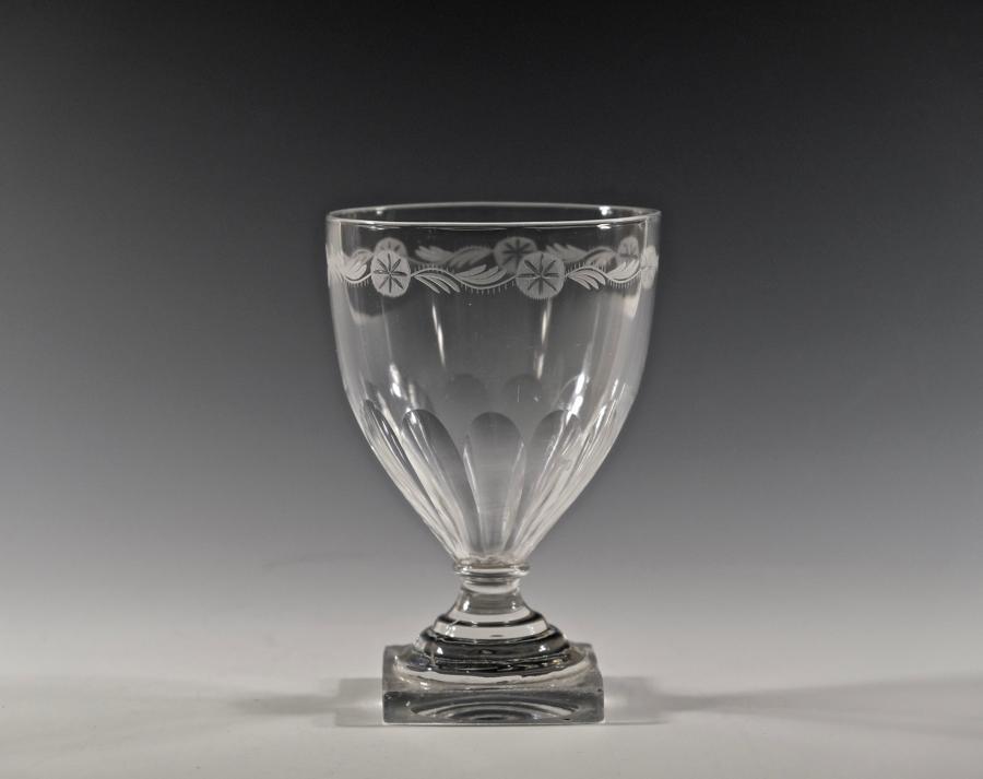 Pedestal stem ovoid rummer English C1800