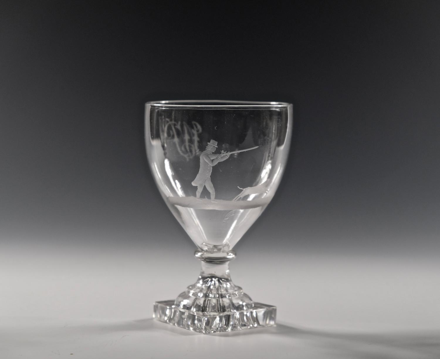 Lemon squeezer rummer engraved shooting scene C1790.