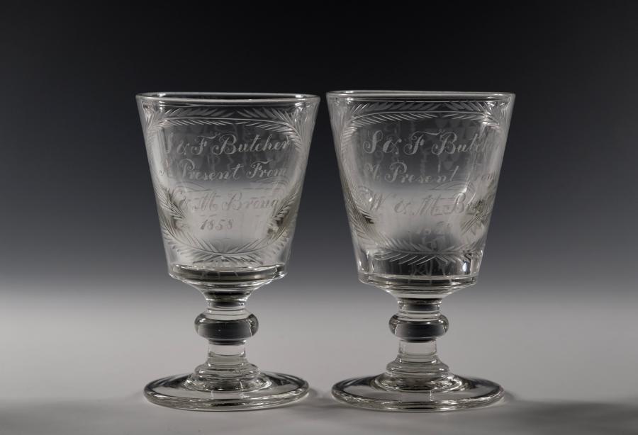 Pair of engraved bucket bowl rummer English C1858