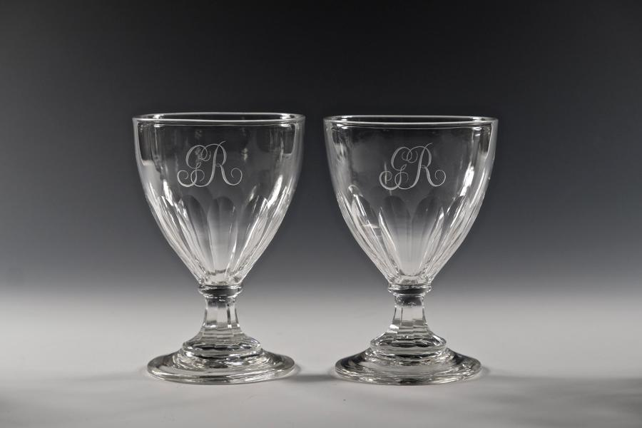 Pair of ovoid rummers with the royal cypher GR English C1800